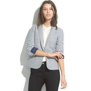 Madewell Tailored Blazer Striped Blue/White 2